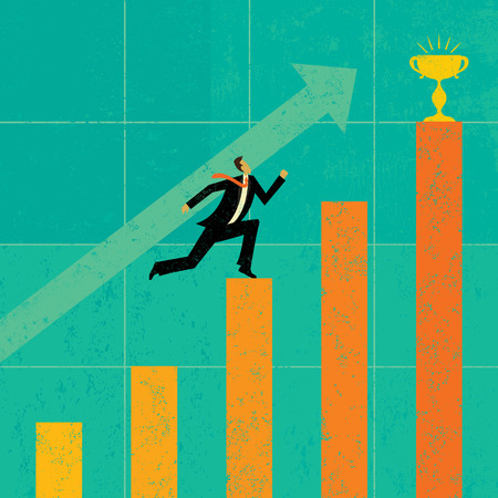 profit graph: Striving for Higher Profits, A businessman striving to achieve his goal of higher profits. The man & bar graph and background are on separate labeled layers. Illustration