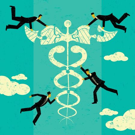 medical bills: Healthcare Solutions, A group of men putting the puzzle pieces together to find solutions for healthcare. The men and caduceus are on a separate labeled layer from the background.
