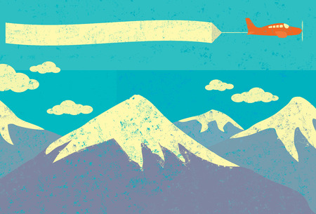 Airplane advertising in the mountains, An airplane with blank advertising banner flying over snow capped mountains in the background. Illustration