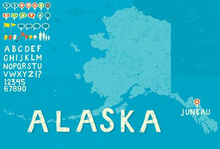 Map of Alaska with icons Иллюстрация