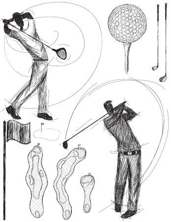 golfer swinging: Golfer swinging doodles, Hand drawn golfers swinging drivers along with other golf doodles.