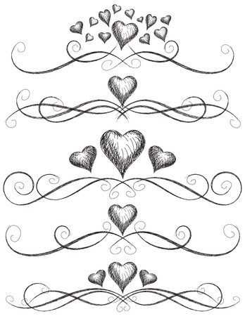 scroll: Heart scroll work, Sketchy hearts with page rules. Illustration