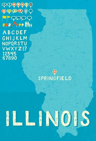 thumb tack: Map of Illinois with icons