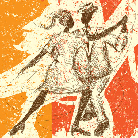 Tango Couple, A sketchy, hand-drawn couple dancing the tango over an abstract background. Illustration
