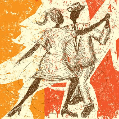 Tango Paar, Een schetsmatig, handgetekende paar dansen de tango op een abstracte achtergrond.