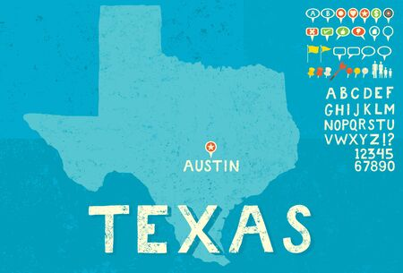 tx: Map of Texas with icons Illustration