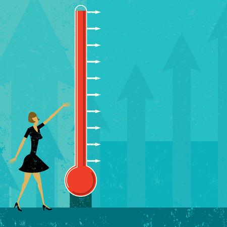 Goal thermometer, een vrouw het meten van de voortgang van een grote fundraising thermometer. Het niveau van kwik makkelijk op en neer bewegen. De thermometer en vrouw en de achtergrond zijn op afzonderlijke lagen label.