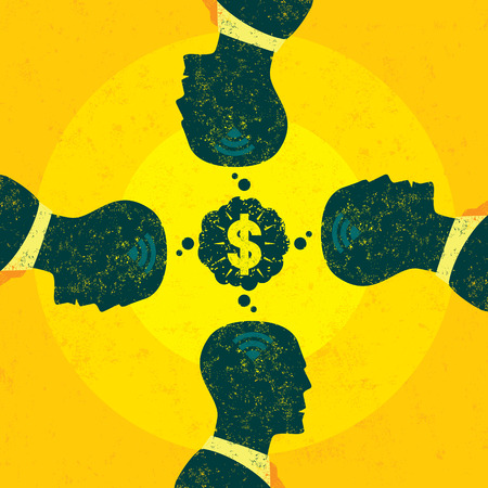 Profitable Teamwork, A team of businessmen imagining a profitable idea. The men and background are on separate labeled layers. Ilustrace