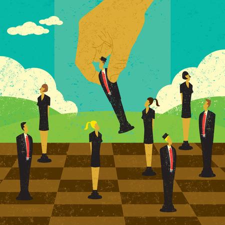 Strategische beslissingen van het management, een grote hand verplaatsen van mensen uit het bedrijfsleven strategische locaties op een schaakbord. De hand en de mensen en de achtergrond zijn op afzonderlijke lagen label.
