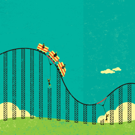 roller: Support in a roller coaster economy, Businesswomen supporting the broken tracks of the roller coaster economy so their clients don Illustration