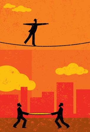 Koorddansen, een retro zakenman lopen een koord met twee mannen en een vangnet eronder voor het geval dat hij valt. De mensen & touw en achtergrond zijn op afzonderlijke lagen label. Stock Illustratie