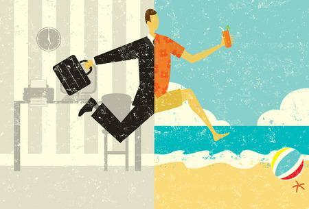 Overgang naar Vakantie Een zakenman met een aktetas het maken van een split afbeelding overgang, van het pak en het kantoor, tot casual kleding op een strand vakantie. De man, kantoor, en het strand zijn op afzonderlijke label lagen.