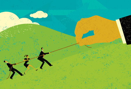 Tug of War, A large hand of big business competing for market share with small business people in a tug-of-war battle.The people & hand and rope are on a separate labeled layer from background. Illustration