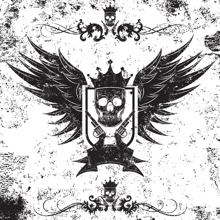crowned: King Gangster Insignia, King of the gangsters insignia over an abstract background. A crowned skull with guns over a shills and wings. It also includes some ornate page rules. The artwork and background are on separate labeled layers. Illustration