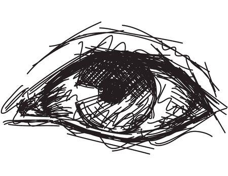 ojo humano: Ojo incompleto, incompleto, mano dibujada ojo humano.