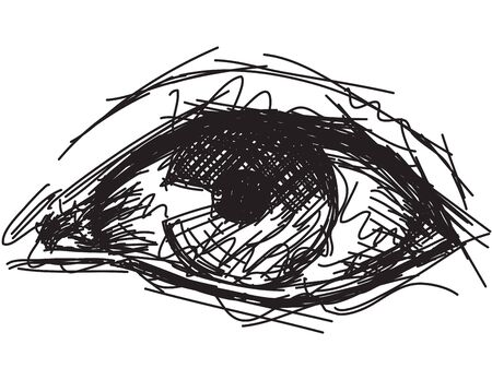 Sketchy eye, Sketchy, hand drawn human eye.