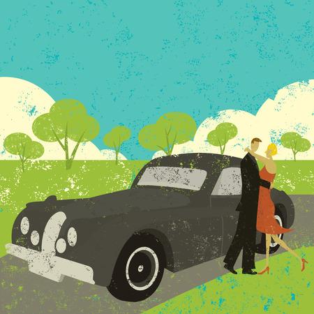 Couple embracing, A couple embracing beside a vintage car.