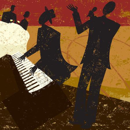 클럽 가수, 피아노 연주자와 사람과 배경이 별도의 표시 레이어에 wine.The 마시는 테이블에 앉아 부부와 함께 재즈 클럽 가수.