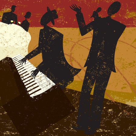 Club Singer, A jazz club singer with a piano player and a couple sitting at a table drinking wine.The people and the background are on separate labeled layers.