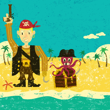 deserted: Pirate boy with an octopus, A pirate boy with an octopus and a treasure chest on a deserted island. The characters and the background are on separate labeled layers.