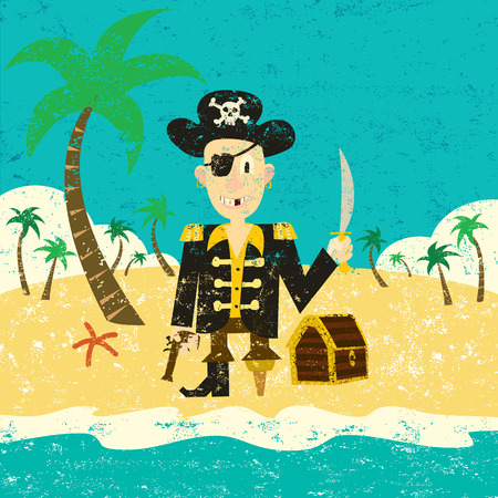 Pirate on an island with treasure, A pirate with his treasure on a deserted island. The pirate and the background are on separate labeled layers. 向量圖像