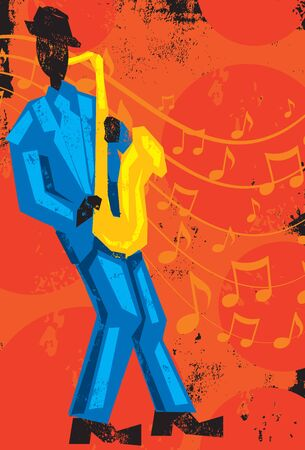 performing arts: Saxophone Player, A saxophone player in front of music notes over a textured background.