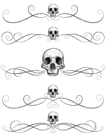 Sketchy skull page rules, Sketchy, hand drawn front view of human skull with page rules. Illustration