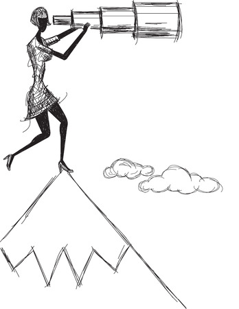 mountaintop: Spyglass, A woman looking into the future with a telescopic spyglass on a mountaintop. The artwork and notebook paper are on separate labeled layers.