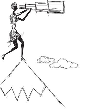 Spyglass, Une femme regardant vers l'avenir avec une lunette télescopique sur une montagne. L'oeuvre et papier de cahier sont marqués sur des couches séparées. Banque d'images - 38433251