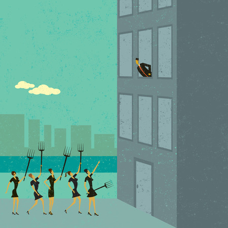 battle evil: Angry shareholders, Angry shareholders, raising pitchforks, protest outside a business. The protestors, the building and the background are on separate labeled layers. Illustration