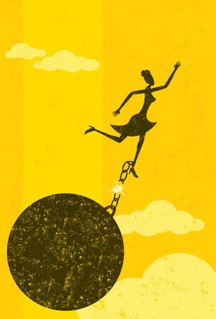 in chains: Liberarse de la bola y una cadena, una mujer de negocios de escapar de su bola y la cadena. La mujer con la bola y la cadena y el fondo están en capas etiquetadas por separado. Vectores