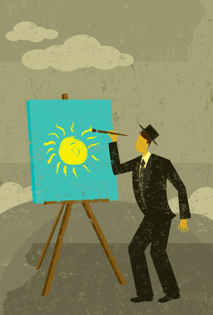 brighter: Brighter Future, A man creating a bright, sunny day on a cloudy one. The man & easel and the background are on separately labeled layers. Illustration