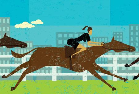carreras de caballos: Las carreras de caballos de la empresaria, una mujer de negocios en una carrera de caballos para lograr su objetivo. La empresaria y caballos están en una capa etiquetada separada del fondo. Vectores