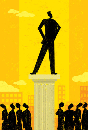 people looking up: Business Leader, Business people looking up at their leader. The leader & column and background are on separately labeled layers.