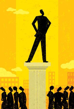 lider: Líder de Empresas, gente de negocios mirando a su líder. La columna y el fondo de líder y se encuentran en capas etiquetadas por separado. Vectores