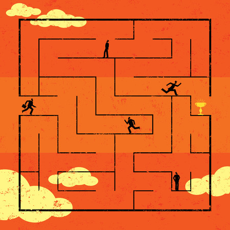 navigating: Navigating Maze to Success, Businessmen navigating a path to success through a maze. The men are on a separate labeled layer from the background.