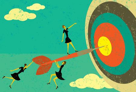 darts: Hitting the Target, Businesswomen on a dart hitting the bull Illustration