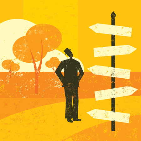 Choosing a destination, A man looking at a road sign and wondering which way to go. Vector