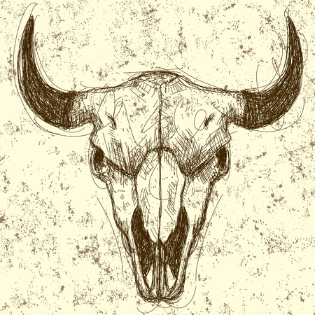 Cow skull drawing over an abstract background. The artwork and background are on separate labeled layers.