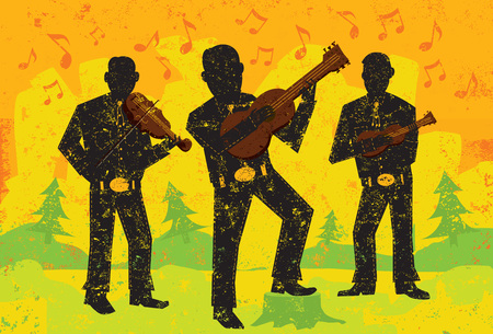 performing arts: Folk musicians, Folk musicians playing over over an abstract background. The musicians are on a separate labeled layer from the background. Illustration