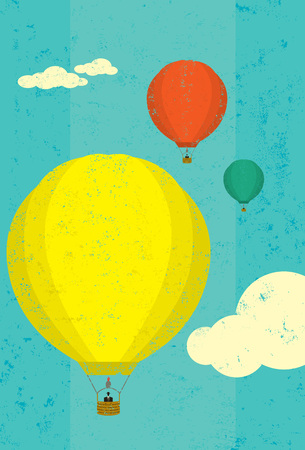 separately: Hot air balloons, Hot air balloons rising in the sky. The balloons and sky are on separately labeled layers. Illustration