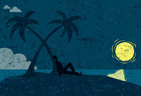 seated: Man on an island, A man in silhouette seated next to a palm tree on a desert island looking at the moon. The man & island and background are on separate labeled layers.
