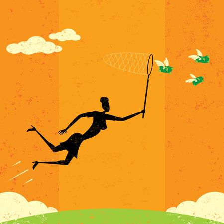 donna farfalla: Chasing Dollari Vettoriali