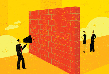 Shouting at a brick wall Vettoriali