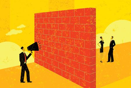 Shouting at a brick wall Illustration
