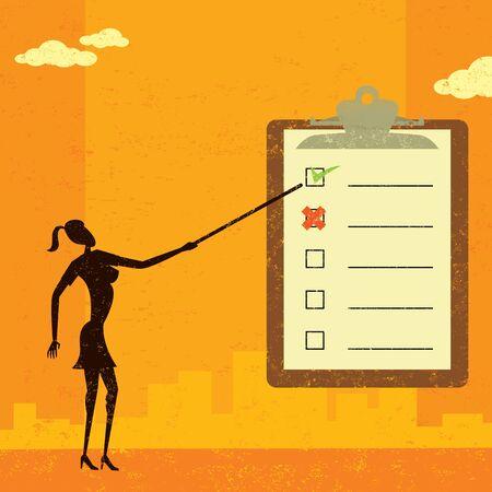 examining: Examining a checklist Illustration