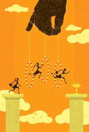 Springen door hoepels Stock Illustratie