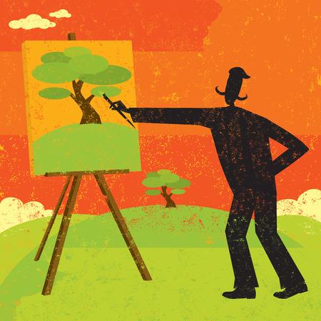 hombre pintando: Pintura del artista