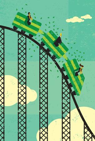 Roller coaster economy Stock Illustratie