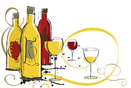 wines: Assorted wines Illustration